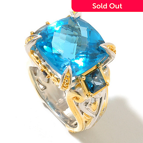 128-716 - Gems en Vogue 12.29ctw Swiss Blue Topaz, London Blue Topaz & Sapphire Ring