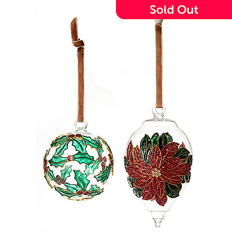 128-718 - Set of Two Cloisonne-Style Enamel Hand-Painted Glass Ball Ornaments