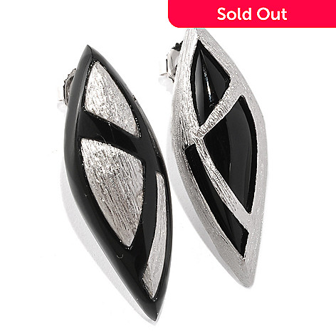 128-740 - Michelle Albala Black Onyx Brushed ''Opposites'' Earrings