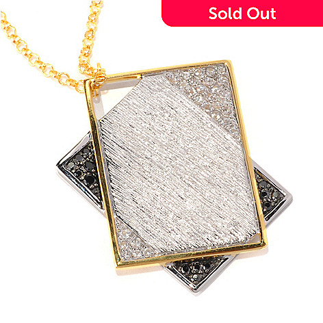 128-741 - Michelle Albala Black Spinel & White Sapphire Geometric Overlap Pendant w/ Chain