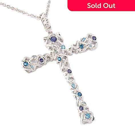 128-743 - Michelle Albala Multi Gemstone Brushed Cross Pendant w/ 20'' Chain