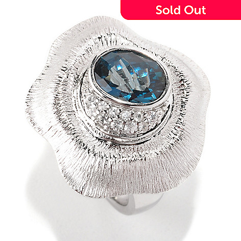 128-748 - Michelle Albala 1.88ctw London Blue Topaz & White Sapphire Flower Ring