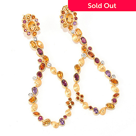 128-753 - Michelle Albala 6.81ctw Multi Gemstone Elongated Teardrop Earrings