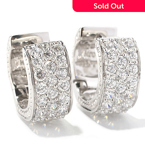 128-757 - Sonia Bitton 3.02 DEW Round Cut Pave Set Simulated Diamond Huggie Hoop Earrings