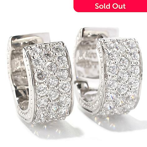 128-757 - Sonia Bitton 3.02 DEW Round Cut Pave Set Simulated Diamond Huggie Hoop Earrings