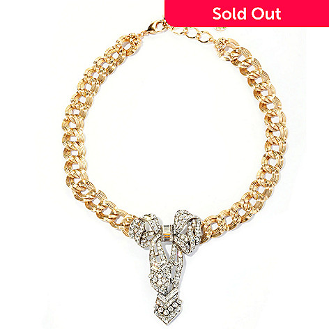 128-776 - Sweet Romance Two-tone 17'' Crystal Bow Necklace