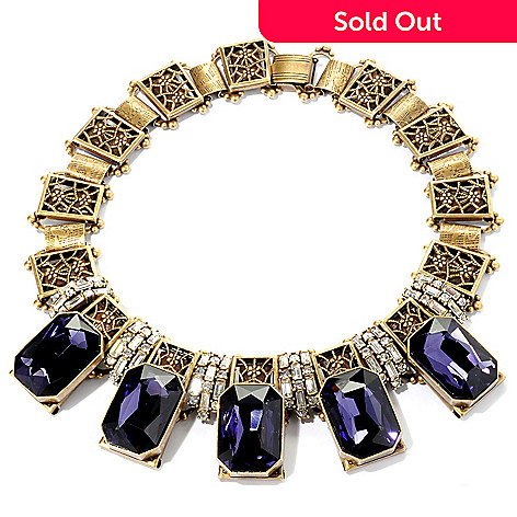 128-778 - Sweet Romance Gold-tone 17'' Purple Octagon & White Crystal Necklace