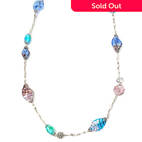 128-779 - Sweet Romance™ 60'' Silver-tone Art Glass Necklace
