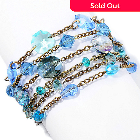 128-785 - Sweet Romance™ 6'' Gold-tone ''Ripple of Blue Crystal'' Bracelet