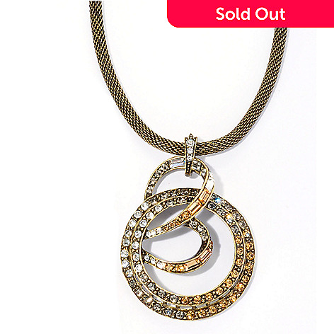 128-792 - Sweet Romance Gold-tone Crystal Spiral Pendant w/ 17'' Chain