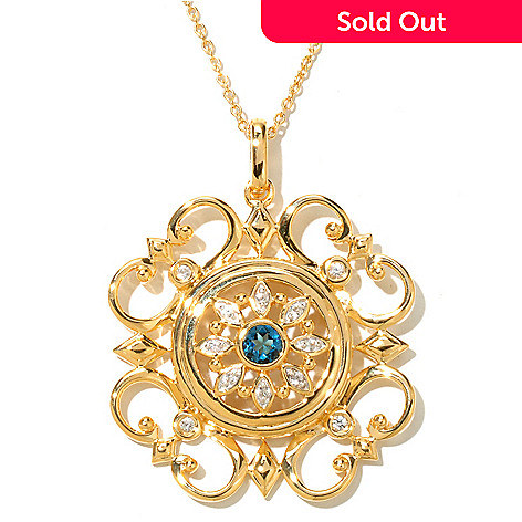 128-797 - Jordan Scott London Blue Topaz & White Sapphire Scrollwork Pendant w/ 20'' Chain