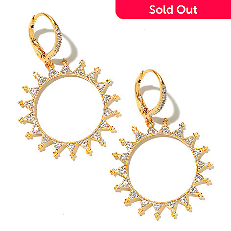 128-800 - Jordan Scott White Sapphire Textured Sun Drop Earrings