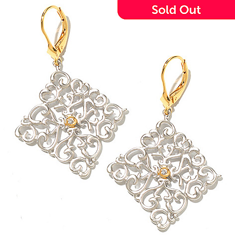 128-802 - Jordan Scott White Sapphire Satin Finished Diamond Shaped Drop Earrings