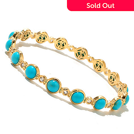 128-804 - Jordan Scott 8'' Turquoise & White Sapphire Slip-on Bangle Bracelet
