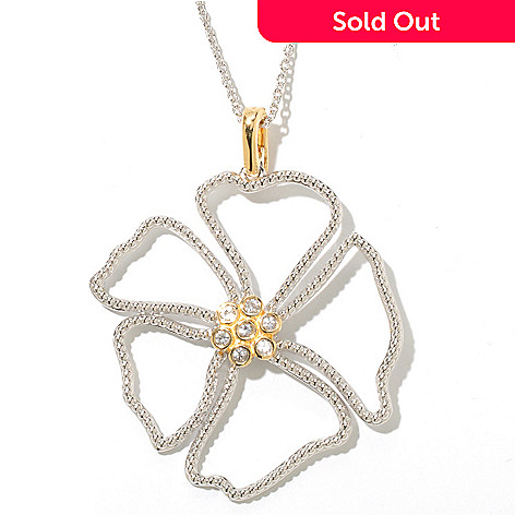 128-807 - Jordan Scott White Sapphire Textured Flower Enhancer Pendant w/ 20'' Chain