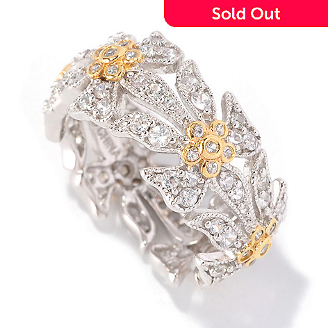 128-808 - Jordan Scott 1.33ctw White Sapphire Flower Eternity Band Ring