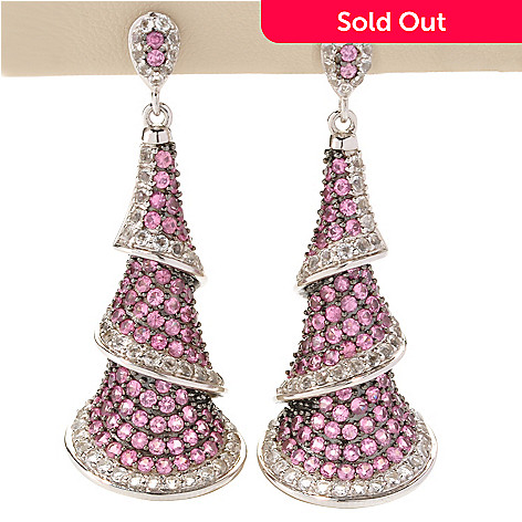 128-812 - Gem Treasures® Sterling Silver 8.15ctw Pink Spinel & White Topaz Earrings
