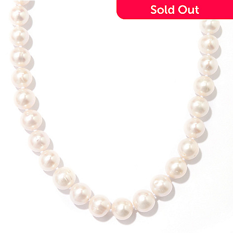 128-813 - Sterling Silver 10-11mm Round White Freshwater Cultured Pearl Necklace