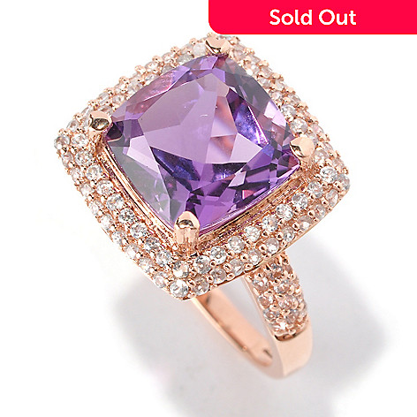 128-816 - Gem Treasures 14K Rose Gold 4.99ctw Cushion Shaped Amethyst & White Zircon Ring