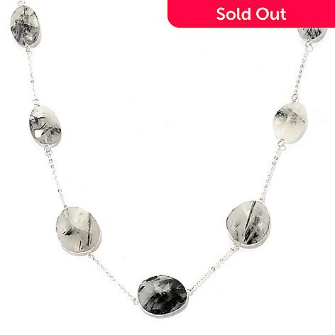 128-818 - Gem Treasures® Sterling Silver 24'' Black & Grey Rutilated Quartz Station Necklace