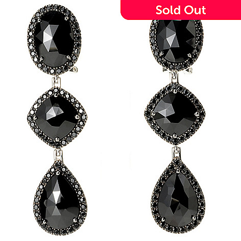 128-819 - NYC II Black Spinel Slice Three-Tier Drop Earrings w/ Omega Backs