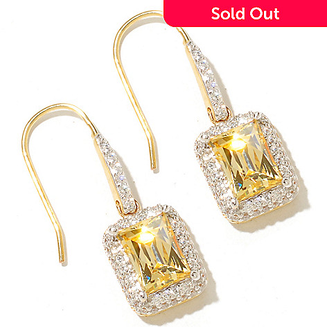 128-822 - TYCOON 1'' 4.41 DEW Simulated Diamond Halo Drop Earrings