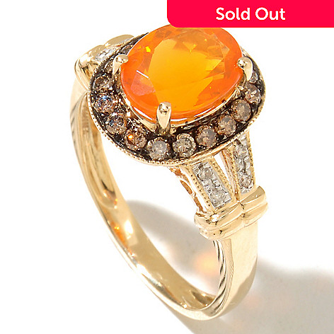 128-824 - Gem Treasures® 14K Gold 9 x 7mm Oval Fire Opal, Champagne & White Diamond Ring