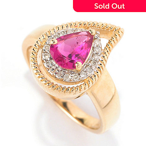 128-825 - Gem Treasures 14K Gold 0.85ctw Pear Shaped Rubellite & Diamond Ring