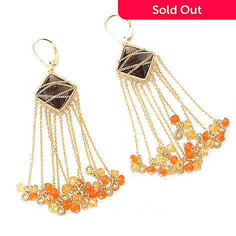 128-829 - Kristen Amato 22.20ctw Smoky Quartz & Multi Gemstone Fringe Earrings