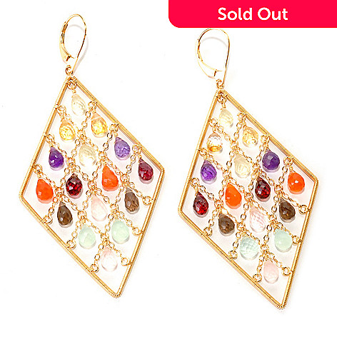 128-832 - Kristen Amato 30.75ctw Multi Gemstone Diamond Shaped Drop Earrings