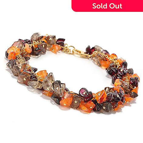 128-835 - Kristen Amato 8'' Chalcedony, Smoky Quartz & Garnet Beaded Bracelet