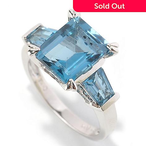 128-838 - Gem Insider™ Sterling Silver 4.97ctw Emerald Cut Blue Topaz & Blue Diamond Ring
