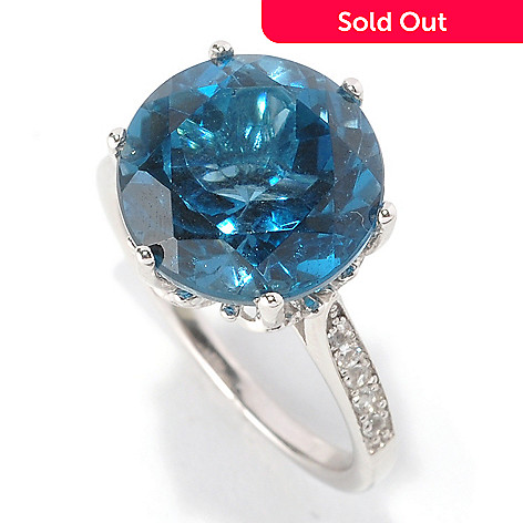 128-839 - Gem Insider™ Sterling Silver 7.00ctw Round London Blue Topaz & White Topaz Ring