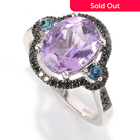 128-841 - Gem Insider™ Sterling Silver 3.12ctw Amethyst, London Blue Topaz & Spinel Ring