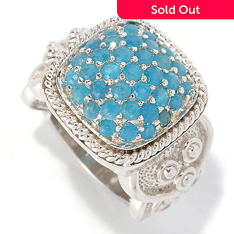 128-842 - Gem Treasures® Sterling Silver 1.60ctw Neon Blue Apatite Square Ring