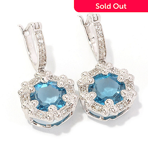 128-844 - Gem Treasures Sterling Silver 7.83ctw London Blue Topaz & White Zircon Earrings