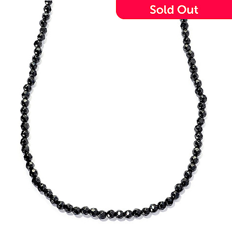 128-847 - Gem Treasures® Sterling Silver Black Spinel Bead Necklace