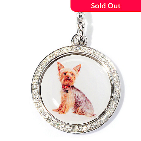 128-848 - Gem Treasures® Sterling Silver White Sapphire Round Dog Charm w/ Enhancer Bail