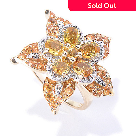 128-851 - Gem Treasures® 14K Gold 3.61ctw Yellow & Gold Sapphire Flower Ring