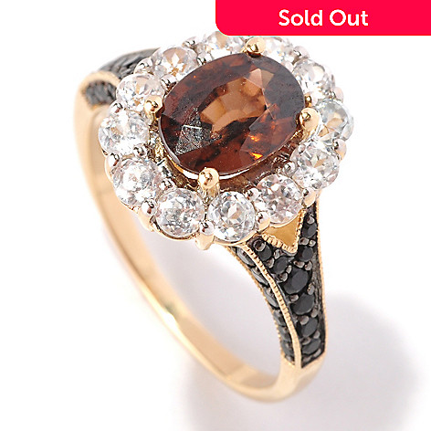 128-852 - Gem Treasures® 14K Gold 3.51ctw Mocha Zircon, White Zircon & Black Spinel Ring
