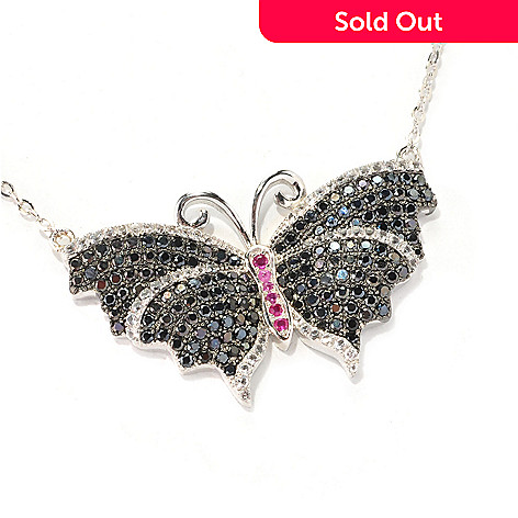 128-853 - Gem Treasures® 18'' Sterling Silver Spinel, Topaz & Pink Sapphire Butterfly Necklace