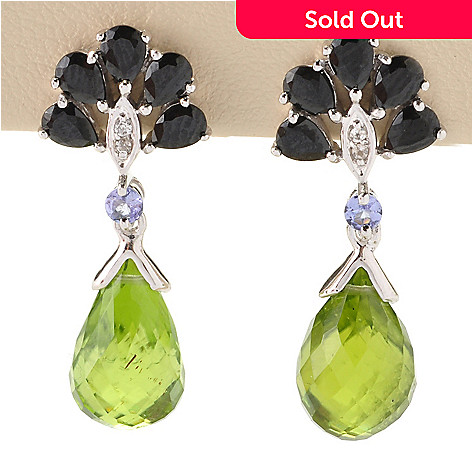 128-856 - Gem Treasures Sterling Silver 11.13ctw Peridot & Multi Gemstone Drop Earrings