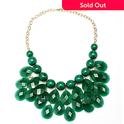 128-859 - Meghan Browne Style 18'' Gold-tone Draped Pear Drop ''Hudson'' Necklace