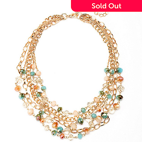 128-862 - Meghan Browne Style 17'' Gold-tone Multi Strand Beaded Necklace
