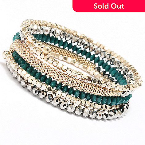 128-865 - Meghan Browne Style 6.5'' Gold-tone Metallic ''Olivia'' Coil Bracelet