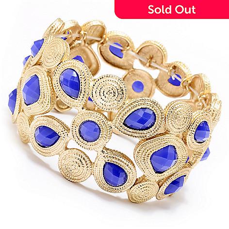 128-866 - Meghan Browne Style Gold-tone ''Stella'' Stretch Bracelet