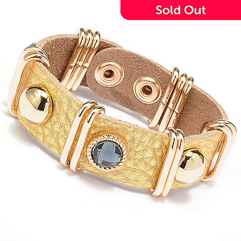 128-867 - Meghan Browne Style Metallic Leather ''Talley'' Bracelet