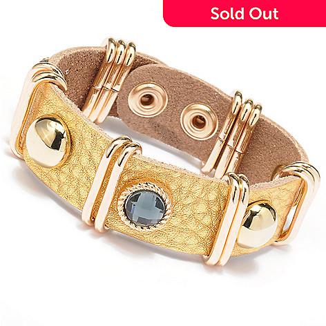 128-867 - Meghan Browne Style Metallic Leather ''Talley'' Bracelet