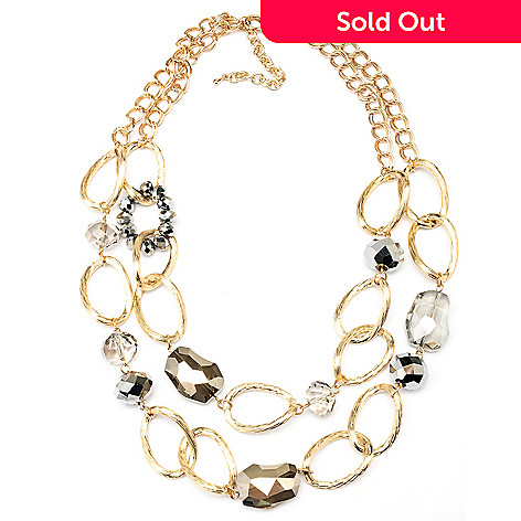 128-873 - Meghan Browne 20'' Gold-tone Double Strand ''Whitney'' Necklace