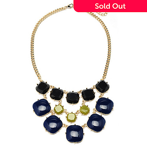 128-875 - Meghan Browne 18'' Gold-tone Blue, Grey & Lime ''Ashley'' Necklace